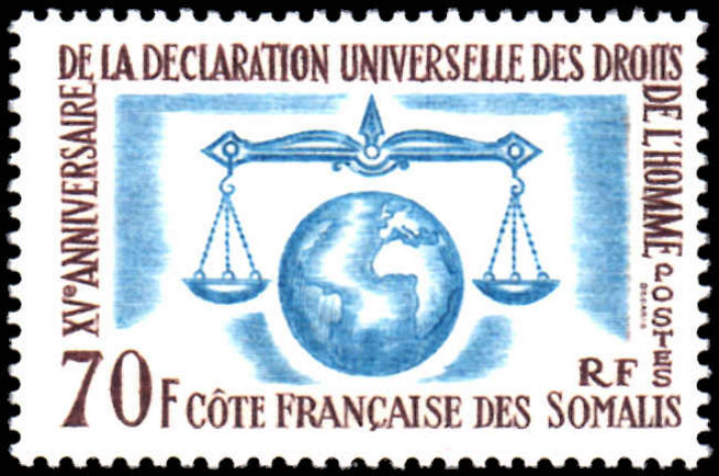 French Somali Coast 1963 Human Rights fine lightly mounted mint.