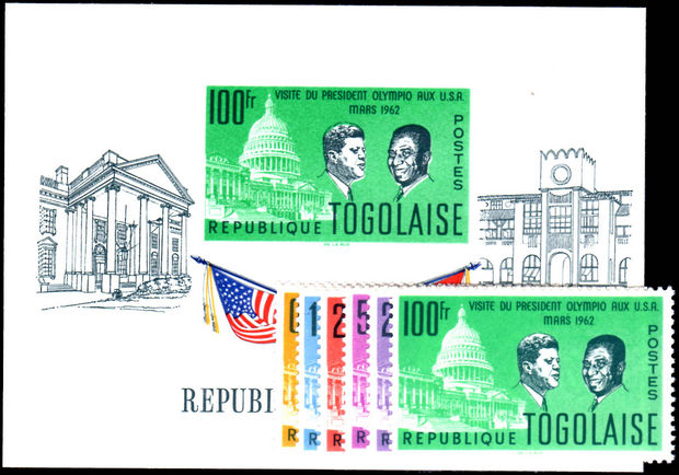 Togo 1962 Pres. Olympio Visit To USA set and souvenir sheet unmounted mint.
