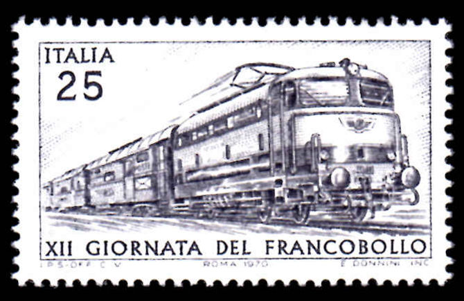 Italy 1970 Stamp Day Electric Train unmounted mint.