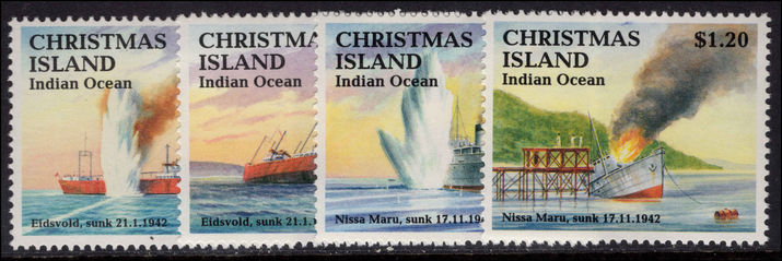 Christmas Island 1992 Sinking of ships unmounted mint.