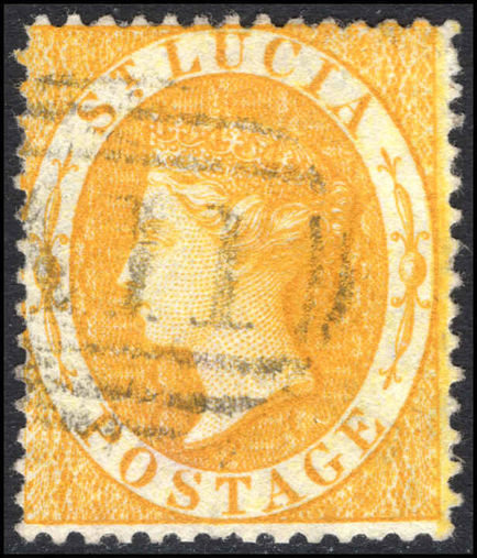 St Lucia 1864-76 (4d) yellow perf 14 fine used.