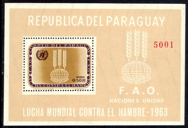 Paraguay 1963 Freedom From Hunger souvenir sheet unmounted mint.
