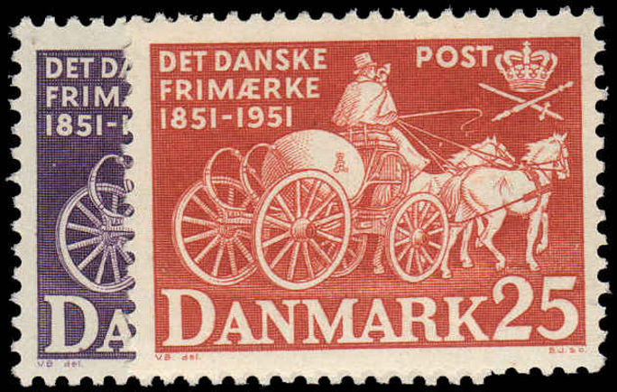 Denmark 1951 Danish Stamp Centenary unmounted mint.