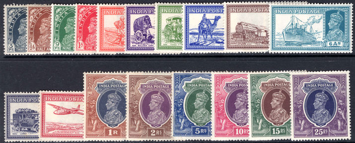 India 1937-40 set (5r creased) lightly mounted mint.