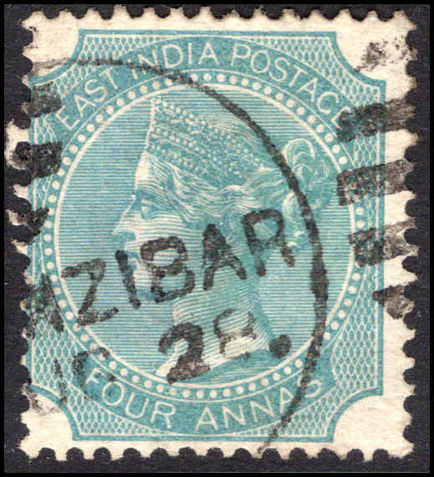 Zanzibar 1866-78 4a of India die I used in Zanzibar using type Z23.