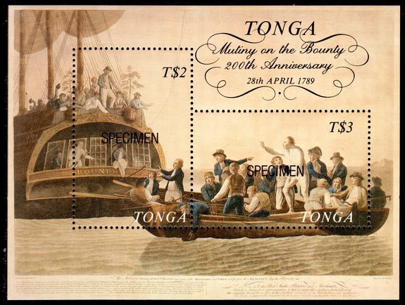 Tonga 1989 Mutiny on the Bounty SPECIMEN souvenir sheet unmounted mint.
