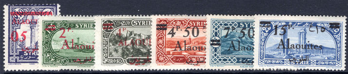 Alaouites 1926-28 set lightly mounted mint (7p50 very fine used).