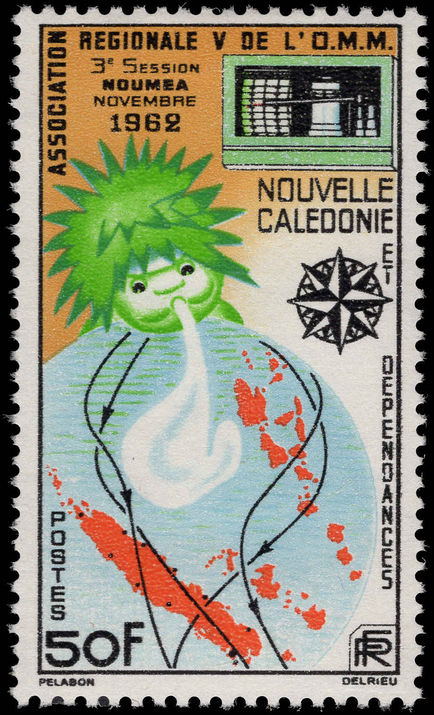 New Caledonia 1962 World Meteorological Society fine lightly mounted mint.