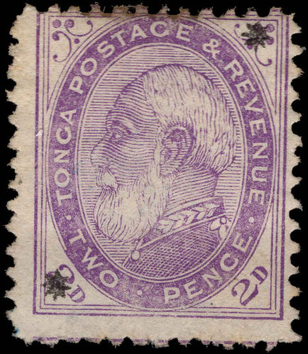 Tonga 1891 2d with stars unused without gum (stained at top).
