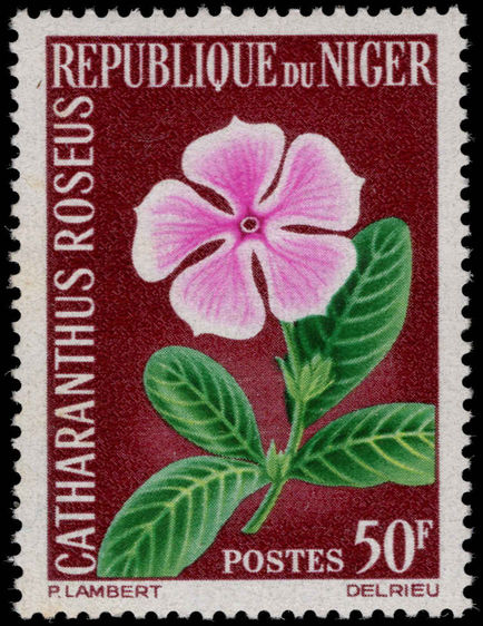 Niger 1964 50f Catharanthus Roseus unmounted mint.