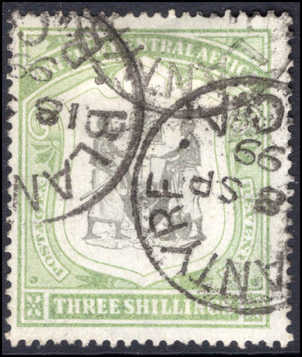 British Central Africa 1897-1900 3s black and sea-green fine used