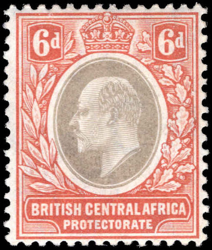 British Central Africa 1907 6d grey and reddish-buff wmk MULT CA mounted mint.