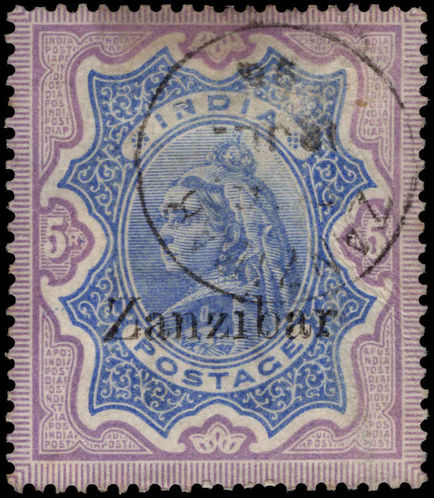 Zanzibar 1895-96 1r ultramarine and violet fine used.