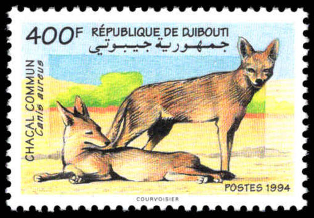 Djibouti 1994 Golden Jackals unmounted mint. Lightly handstamped Post-museet Oslo from UPU archive.