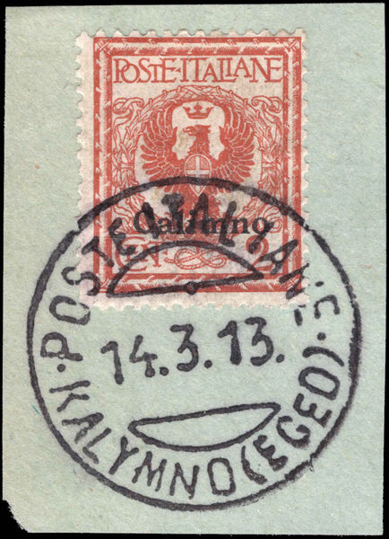Calimno 1912-21 2c orange-brown fine used on piece.