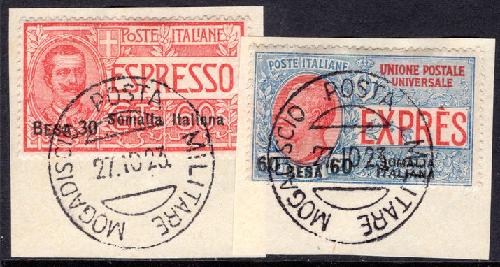 Somalia 1923 Express letter pair fine used on piece.