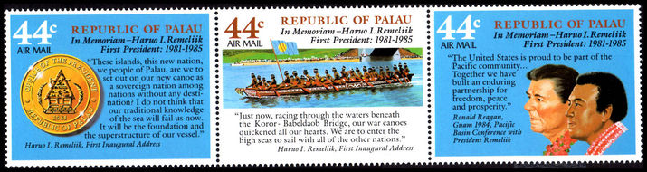 Palau 1986 Haruo Remelik strip of three unmounted mint.