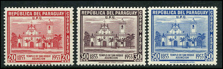 Paraguay 1954 San Roque Church three values unmounted mint.