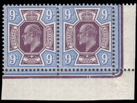 1911 9d deep plum and blue Somerset House in very fine unmounted mint positional corner marginal pair with date cuts.