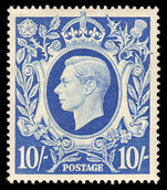 1939-48 10/- ultramarine fine unmounted mounted mint.