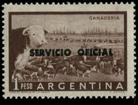 Argentina 1959 1peso official black overprint unmounted mint.