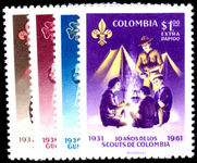 Colombia 1962 Scouts Air And Extra Rapido unmounted mint.