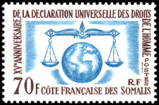 French Somali Coast 1958 Human Rights fine lightly mounted mint.