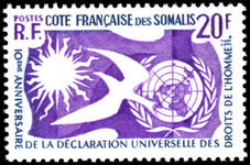 French Somali Coast 1958 Human Rights unmounted mint.