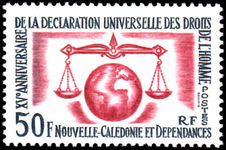 New Caledonia 1963 Human Rights unmounted mint.