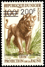 Niger 1960 Lion 200fr Surcharge unmounted mint.
