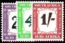 South Africa 1950-58 2d, 4d and 1/- Postage Dues unmounted mint.