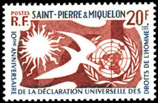 Ste Pierre Et Miquelon 1958 Human Rights unmounted mint.