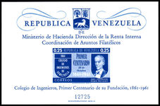 Venezuela 1961 Engineering College souvenir sheet With No Value unmounted mint.