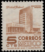 Mexico 1953-76 5c Mexico City ordinary paper unmounted mint.