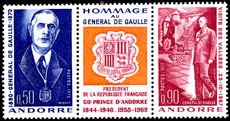 French Andorra 1972 De Gaulle strip unmounted mint.