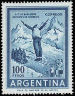 Argentina 1961-69 100p Ski jumper wmk RA in sun unmounted mint.