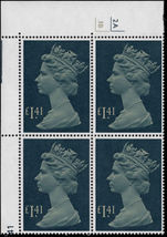 £1.41 pale drab and deep greenish blue cylinder block unmounted mint.