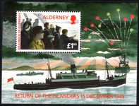 Alderney 1995 50th Anniversary of Return of Islanders to Alderney Miniature Sheet unmounted mint.