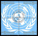 Guernsey 1995 United Nations block fine used.