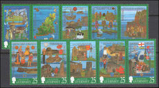 Guernsey 1998 The Millennium Tapestries Project strip unmounted mint.