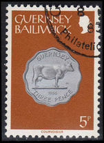Guernsey 1979-83 5p yellowish-brown shade fine used.