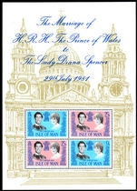 Isle of Man 1981 Royal Wedding souvenir sheet unmounted mint.