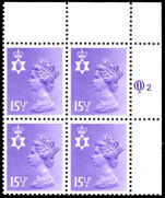 Northern Ireland 1971-93 15½p pale violet Questa Litho block of 4 unmounted mint.