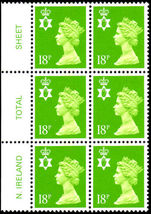 Northern Ireland 1971-93 18p bright green perf 14 Questa Litho block of 6 unmounted mint.