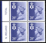 Northern Ireland 1971-93 28p deep violet blue perf 15x14 Questa Litho block of 4 unmounted mint.