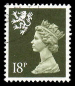 Scotland 1971-93 18p deep olive grey Litho Questa fine used.