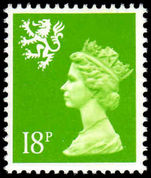 Scotland 1971-93 18p bright green Litho Questa unmounted mint.