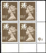 Wales 1971-93 11½p drab Litho Questa. Block of 4.