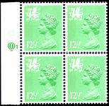 Wales 1971-93 12½p light emerald perf 15x14 Litho Questa block of 4 unmounted mint.