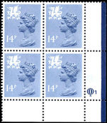 Wales 1971-93 14p grey-blue Litho Questa block of 4
